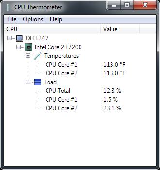 CPU Thermometer in Fahrenheit