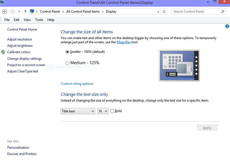 Control Panel for changing font size in applications and desktop