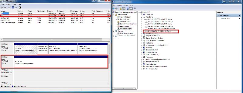 Screenshot of hard drives