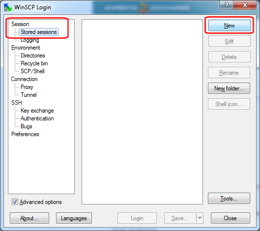 WinSCP - Stored sessions