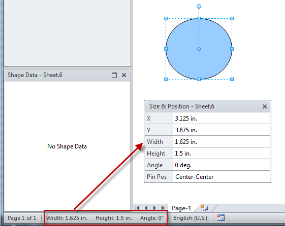 Visio Size and Position window in action