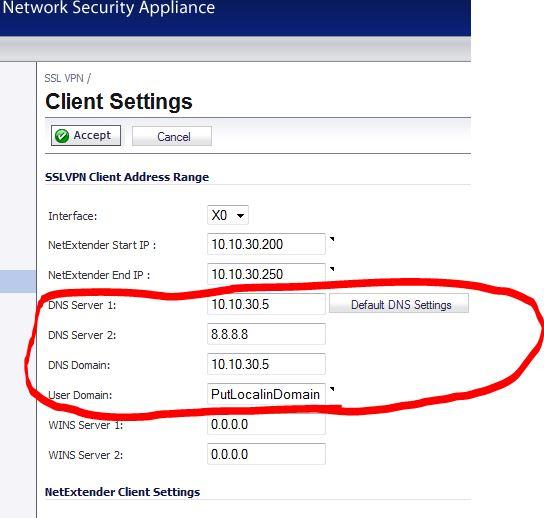 SSL-VPN DNS Config