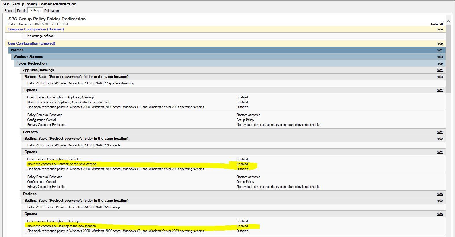 Implement Folder Redirection Server Essentials 2012 - pre