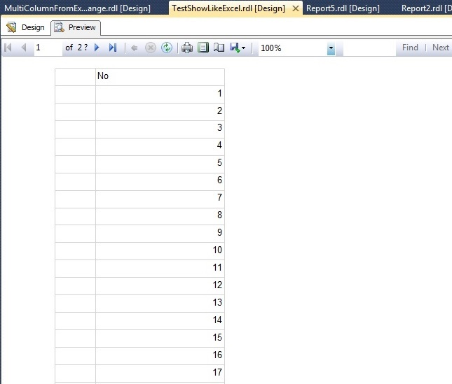 Simple way to show multi column data in SSRS (Horizontally or