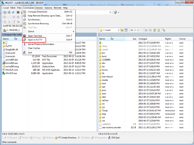 WinSCP - Logged in - Open in PuTTY (click for larger)