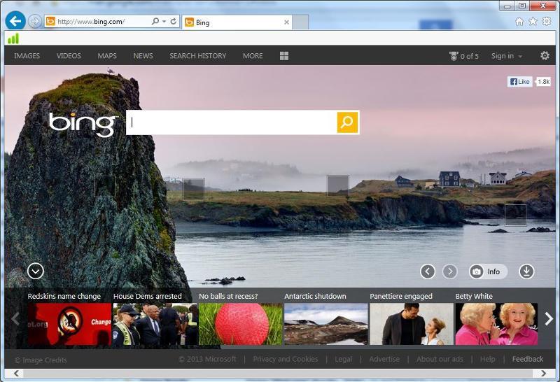 Bing in Internet Explorer 10 (Win 7)