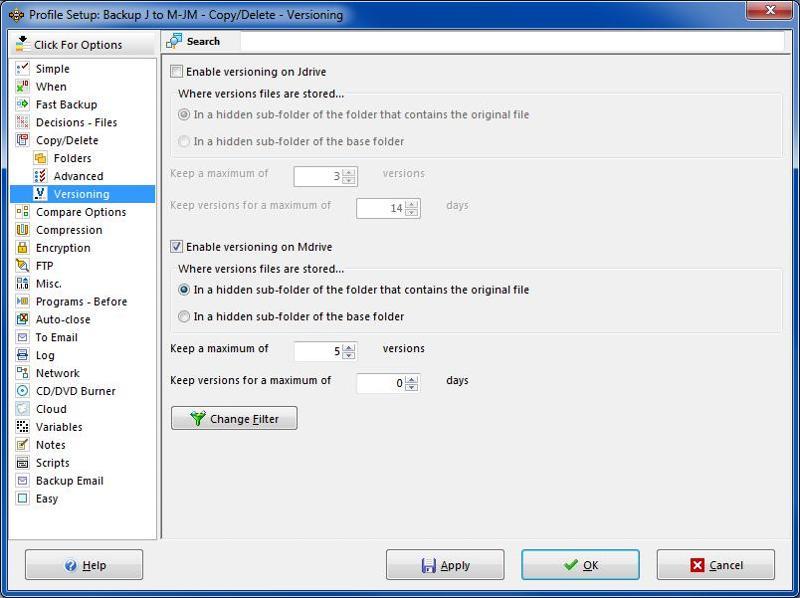 SyncBack versioning