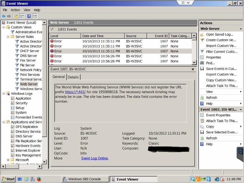 Event Log - Web Server Error