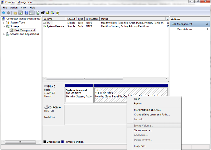 Extend option in Disk Management