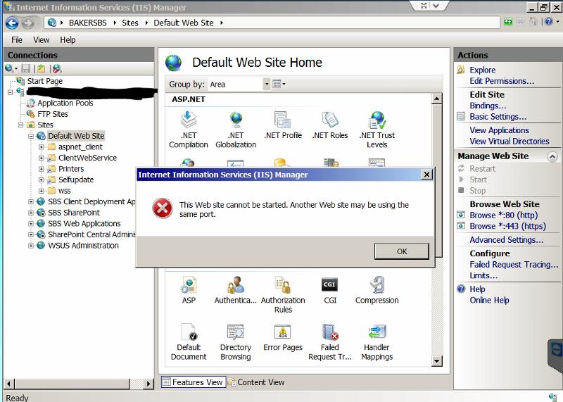 IIS MAnager Default Web Site Start FAILS