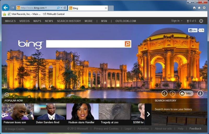 Bing in Internet Explorer 10 (Windows 7 Ultimate, work PC).