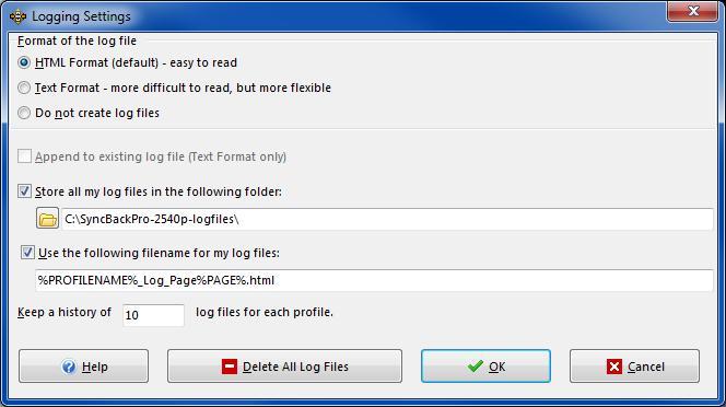 SyncBack Pro - Preferences Log Settings