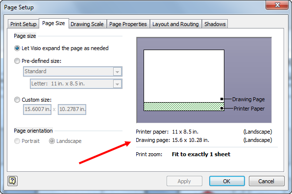 Change paper size visio 2013