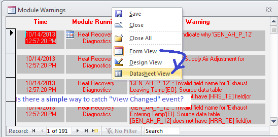 Change Form view to Datasheet view