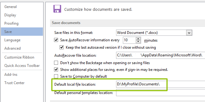 Office Default Save Loction
