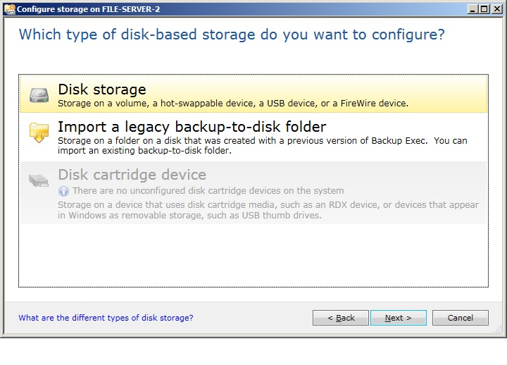 Disk cartridge option is not available