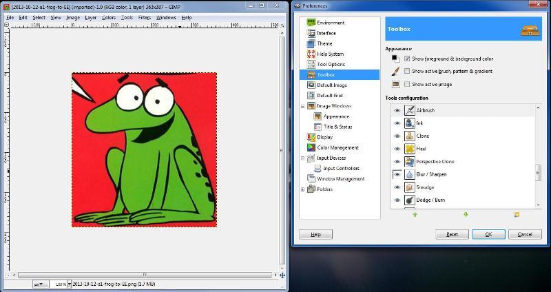 GIMP no foreground-background squares