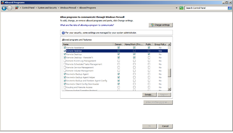 Windows Firewall/Group Policy setting for RDP