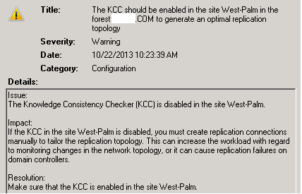 DC best practices complains KCC is turned off for West-Palm