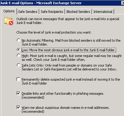 Junk EMail Options - Microsoft Exchange Window