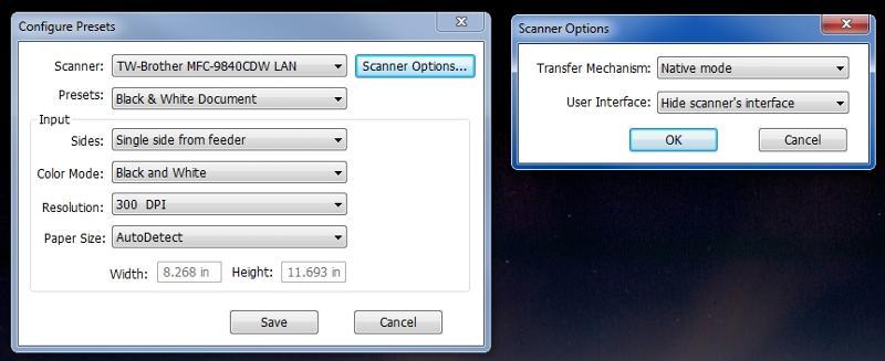 Foxit - configure scanner preset