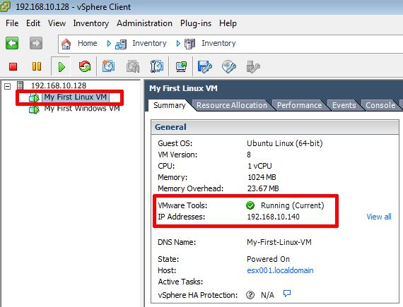 VMware Tools Installed and Current