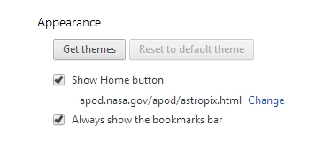 Chrome Settings Appearance