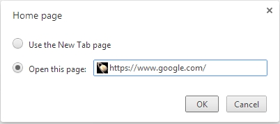 Chrome change home page