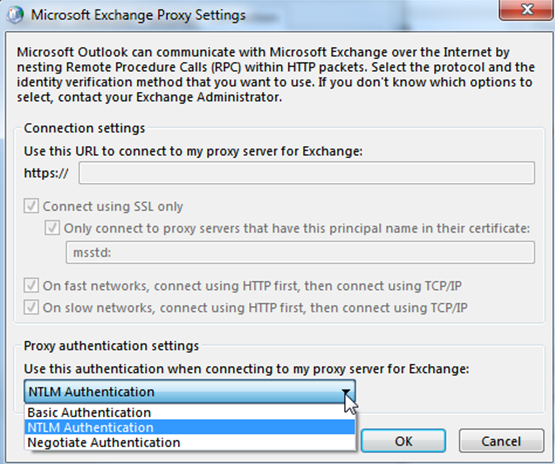 exchange proxy settings