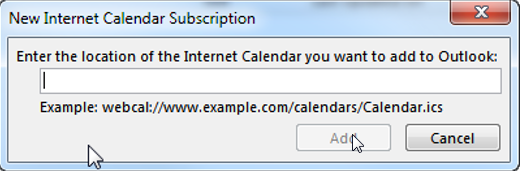 add new internet calendar