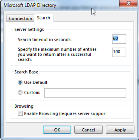 ldap more settings - search