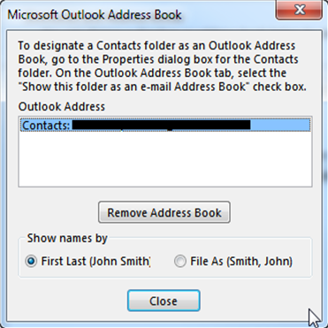 outlook address book - change