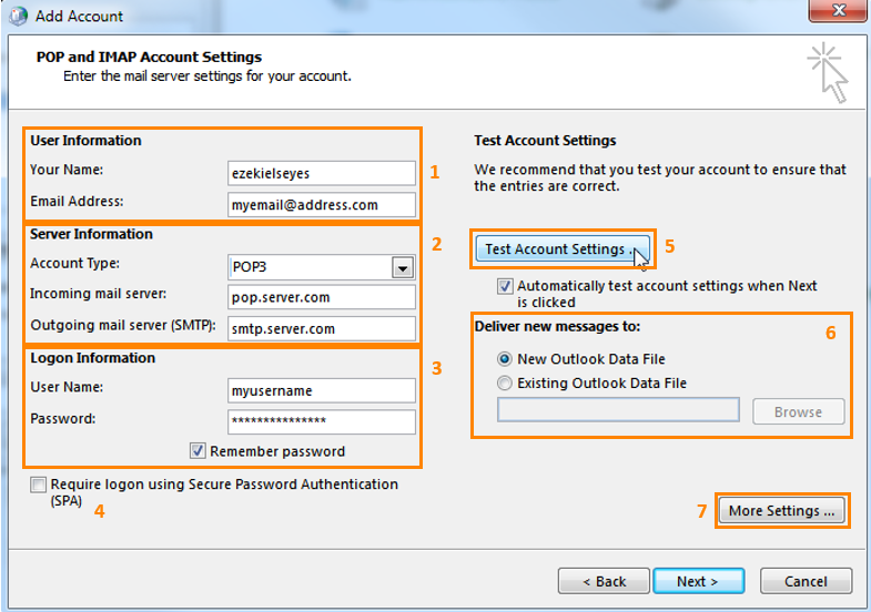 add pop / imap account