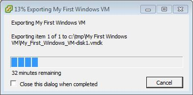 Exporting My First Windows VM 13 percent complete