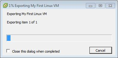 Exporting My First Windows VM 1 percent completed
