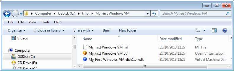 Contents of My First Windows VM folder