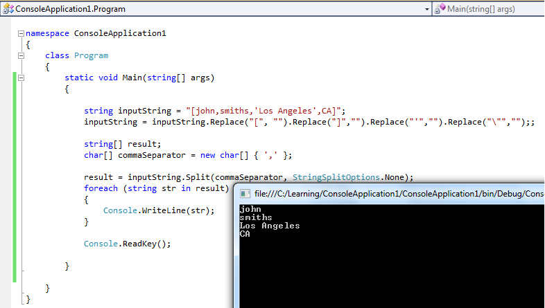 Screenshot of Console app with code and output