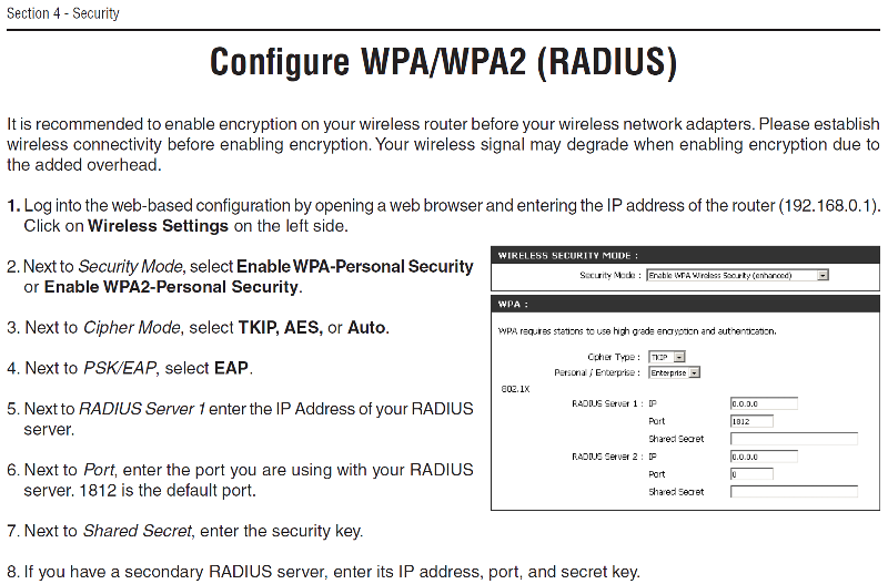 D-Link WBR-2310 Wireless Authentication (click for larger)