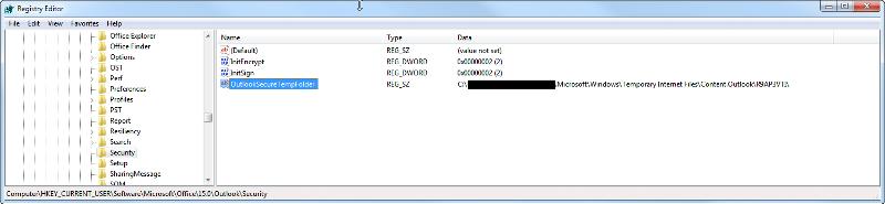 OutlookSecureTempFolder location in windows registry