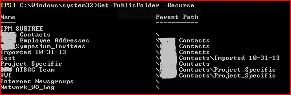 Screenshot of Get-PublicFolder -Recurse results