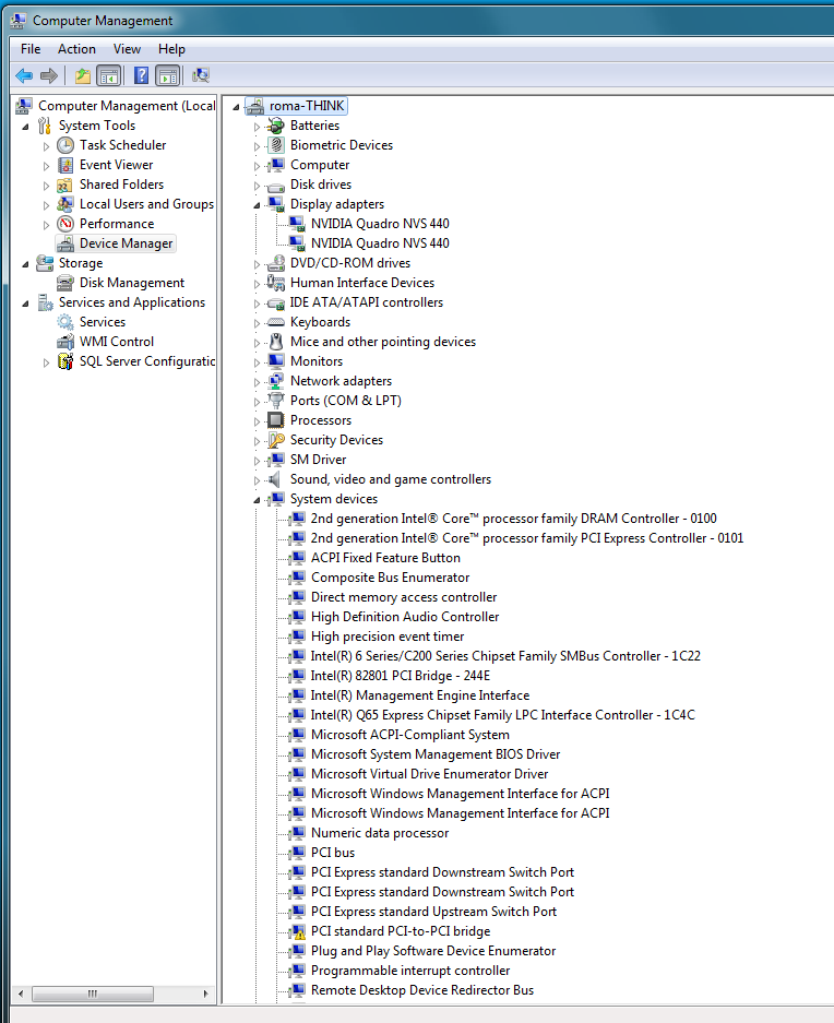 Device manager view