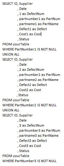 sample union query