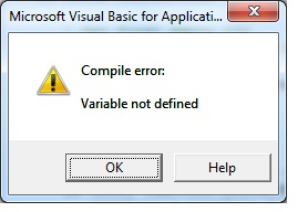 compile error variable not defined