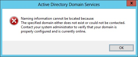 Error when opening Active Directory Users and Computers