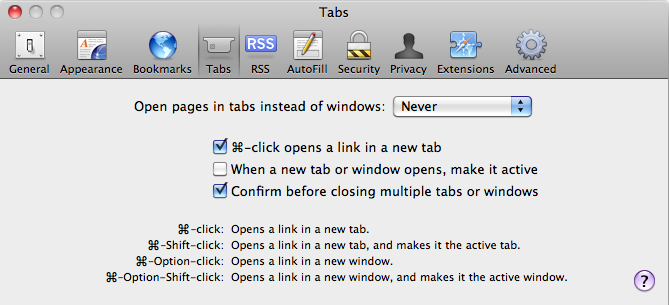 Safari Preferences - Tabs
