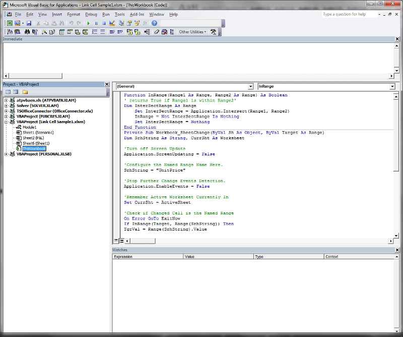 VBA Editor Screen Shot