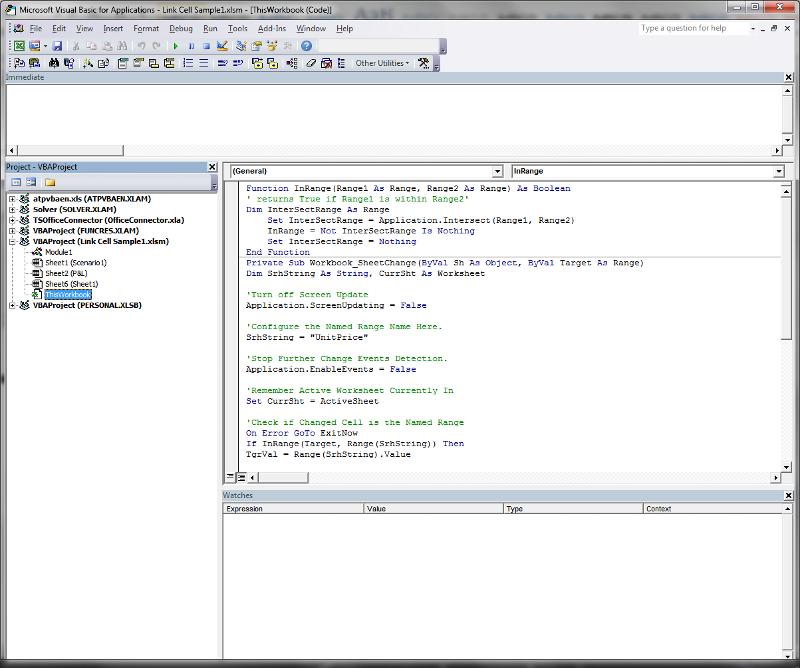 VBA Editor Screen Shot