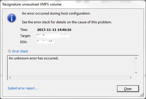 resignature error