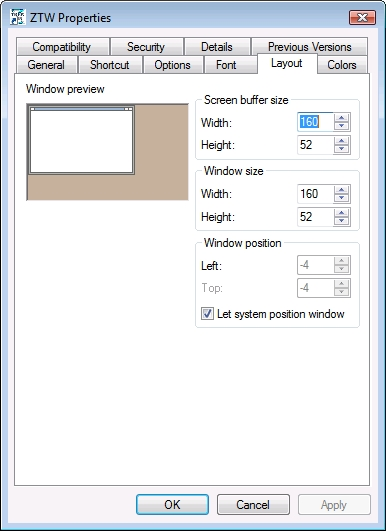 Windows size proporties