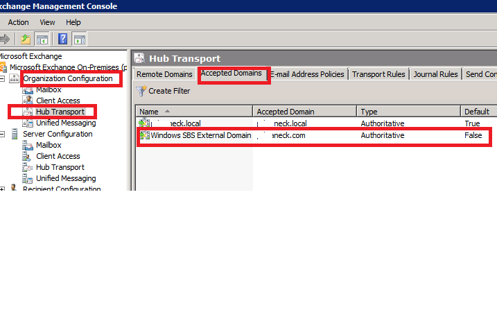 Hub Transport - Accepted Domains on Another SBS2011
